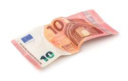 Crumpled ten euros banknote Royalty Free Stock Image