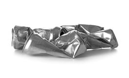 Crumpled tin cans. On white background stock photos