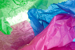 Crumpled Tissue. Crumpled colored tissue in close up stock photography
