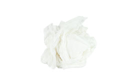 Crumpled tissue paper isolated white background. Save with path Royalty Free Stock Photography