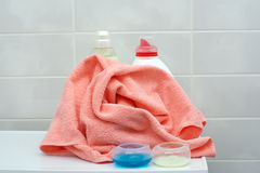 Crumpled towel in the bathroom Royalty Free Stock Photos