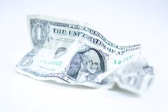 Crumpled U.S. Dollar Bill Stock Photography
