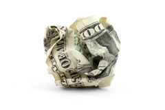 Crumpled usa dollar ball Royalty Free Stock Photo