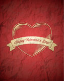 Crumpled vintage Valentines Day card Stock Photography