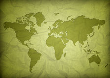 Crumpled vintage world map Royalty Free Stock Photos