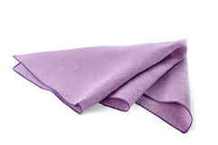 Crumpled violet textile napkin on white. Crumpled violet textile napkin isolated on white background royalty free stock photography