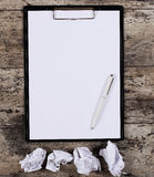 Crumpled wads, blank white paper Stock Photography