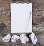 Crumpled wads, notebook Royalty Free Stock Photo
