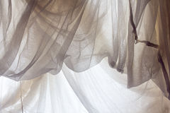 Crumpled white fabric cloth texture Stock Images