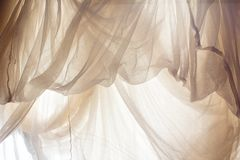 Crumpled white fabric cloth texture Stock Photo