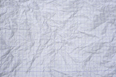 Crumpled white graph paper Royalty Free Stock Photo
