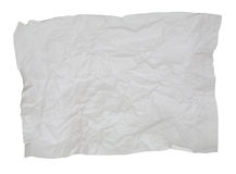 Crumpled white paper isolated. On white for textured background Royalty Free Stock Photography