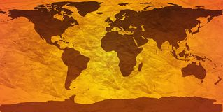 Crumpled world map. World map on creased paper - amber version Stock Photography