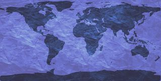Crumpled world map. World map on creased paper - blue version Stock Images