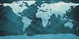 Crumpled world map. World map on creased paper - cyan version Stock Photos