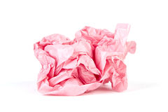Crumpled wrapping paper in a ball on white Stock Photo