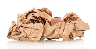 Crumpled wrapping paper  on white Stock Image