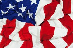 Crumpled and Wrinkled American Flag Background Stock Images