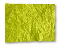 Crumpled Yellow-Green Paper Background Royalty Free Stock Image