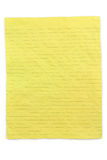Crumpled yellow lined paper. With white background Royalty Free Stock Images