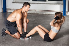 Crunches - sit up exercise - crossfit Stock Image