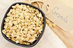 Crunchy almond and oatmeal granola. Royalty Free Stock Images