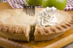 Crunchy apple pie with whipped cream Stock Photos