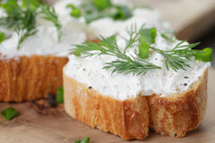 Crunchy baguette slices with cream cheese and Stock Photography