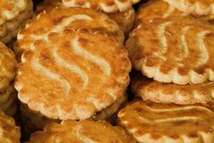Crunchy biscuits. Close-up of crunchy golden buttery biscuits royalty free stock image