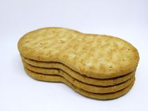 Crunchy brown wheat crackers. Isolated on white background Royalty Free Stock Photography