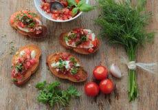 Crunchy bruschettas Stock Photo