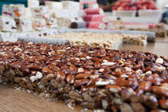 Crunchy Candied almonds on a snack stand Royalty Free Stock Images