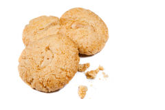 crunchy cashew nut cookies over white Stock Photo
