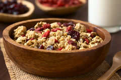 Crunchy Cereal with Dried Berries. Crunchy oatmeal cereal with almond and dried goji berries and cranberries in wooden bowl, photographed with natural light ( stock image