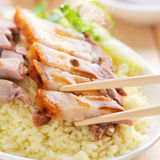 Crunchy Chinese roasted pork Stock Photos