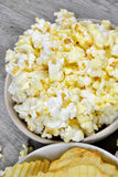 Crunchy chips and popcorn Royalty Free Stock Image