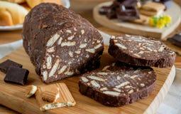 Crunchy chocolate salami Stock Image