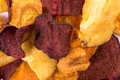 Crunchy colorful organic vegetable chips stock photos