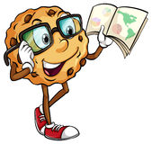 A crunchy cookie reading. On a white background Stock Photo