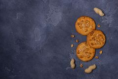 Crunchy cookies with peanuts on table Royalty Free Stock Images
