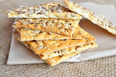 Crunchy cookies with sunflower and flax seeds Royalty Free Stock Photos