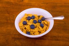 Crunchy Corn Cereal with Blueberries. A white bowl of crunchy, square corn cereal for breakfast on a wood table royalty free stock images