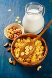 Crunchy cornflakes cereal and milk. Healthy breakfast royalty free stock image