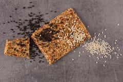 Crispy flatbread crackers with sesame and hemp seeds. Royalty Free Stock Photo