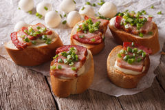 Crunchy crostini with bacon and mozzarella cheese. horizontal Royalty Free Stock Images