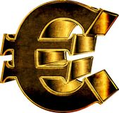 3d gold Euro currency sign Stock Photography