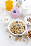 Crunchy flakes with blueberries and various yogurts Stock Images