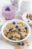 Crunchy flakes with blueberries and various yogurts Stock Photo