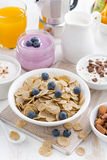 Crunchy flakes with blueberries and various yogurts Stock Photos
