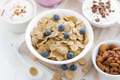 Crunchy flakes with blueberries and various yogurts Royalty Free Stock Photo
